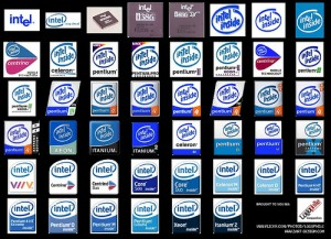 logos of many Intel processors